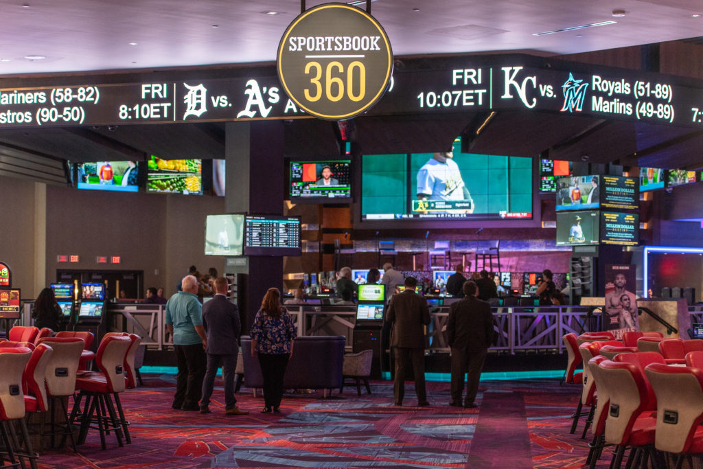 The Grand Opening Celebration Of The New 360 Sportsbook At Resorts World Casino With Professional Athletes Santana Moss, Larry Johnson And John Starks.